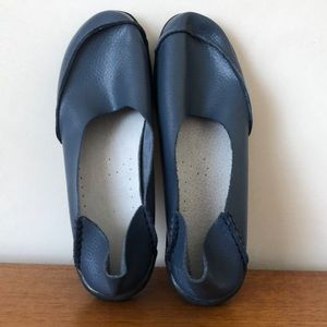 Comfy slip on leather shoes.